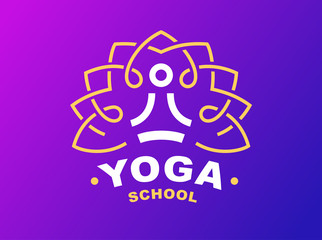Outline yoga logo - vector illustration, emblem design on gradient background