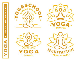 Set yoga logos - vector illustration, emblem design on white background