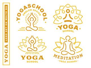 Set yoga logos - vector illustration, emblem design on white background