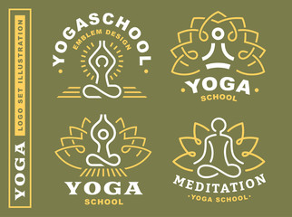 Set yoga logos - vector illustration, emblem design on green background
