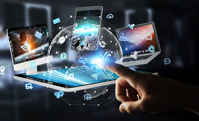 Businessman connecting tech devices to each other 3D rendering