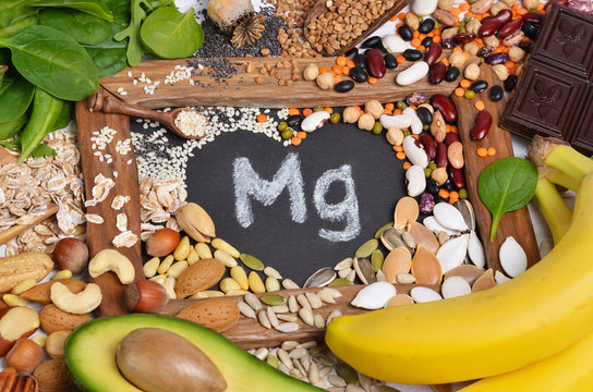Foods containing magnesium. Healthy food. Top view.