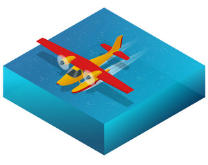 Hydroplane on the water. Flat 3d isometric illustration For infographics, games and design. Air transport for travel and work.
