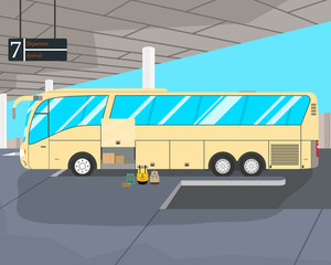 The tourist bus is ready to be sent from the bus station. Vector illustration