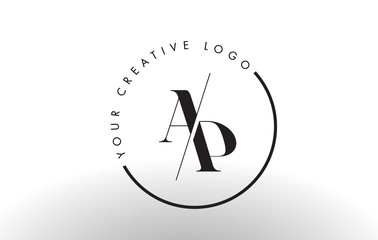 AP Serif Letter Logo Design with Creative Intersected Cut.