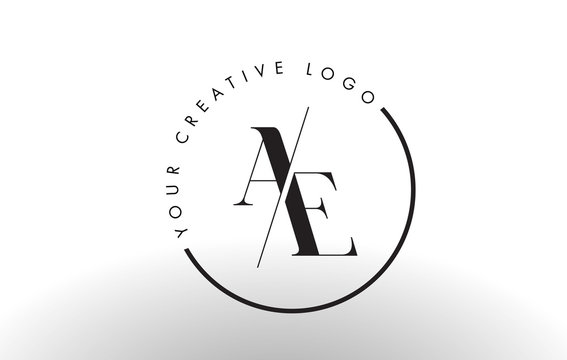 AE Serif Letter Logo Design with Creative Intersected Cut.