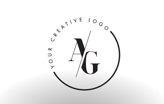 AG Serif Letter Logo Design with Creative Intersected Cut.