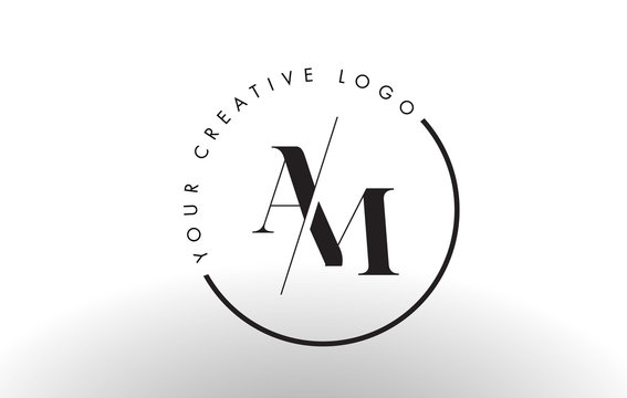 AM Serif Letter Logo Design with Creative Intersected Cut.