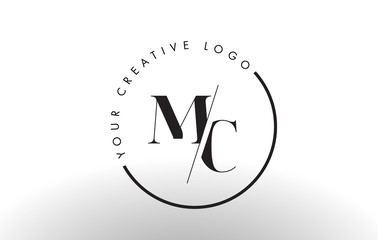 MC Serif Letter Logo Design with Creative Intersected Cut.