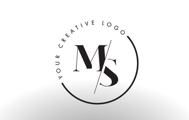 MS Serif Letter Logo Design with Creative Intersected Cut.