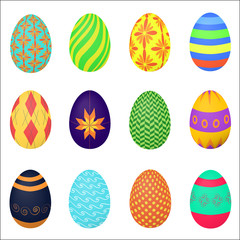 The ornamental colorful Easter eggs variety vector illustration.