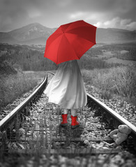 Girl with a red umbrella on the tracks. Lost teddy bear. Digital illustration with soft oil painting style.