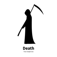 Vector illustration black silhouette grim Reaper
