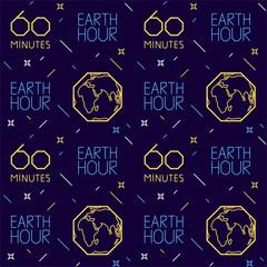 Earth hour pattern on dark blue background