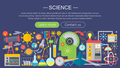 Flat design concept of science. Horizontal banner with scientist workplaces. Scientific research experiment infographics template design, web header icons elements.Vector illustration.