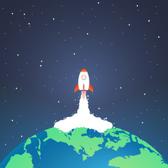 Rocket and the space. Rocket launch from earth. Concept.  Start up, business and promotion for success.