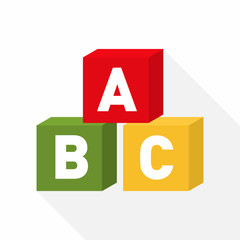 ABC blocks flat icon for education with light shadow. Vector illustration