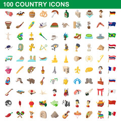 100 country icons set, cartoon style