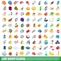 100 shop icons set, isometric 3d style
