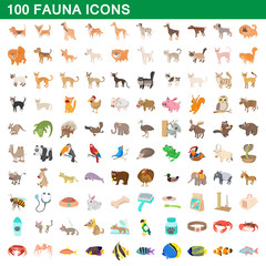 100 fauna icons set, cartoon style