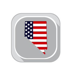 Map of the U.S. state Nevada on a white background. American flag