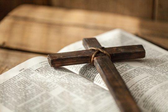 Cross on bible.