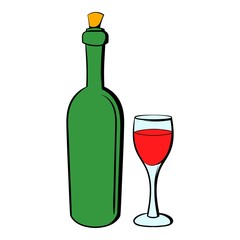 Wine bottle and wine glass icon cartoon