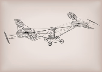 The first helicopter plane construction graphic drawing in black line outline. Vector close-up detailed illustration linear sketch of flying old vintage retro air transport