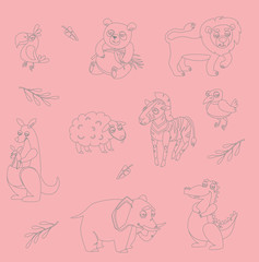 wild animals. Simple outline on white background. vector illustration