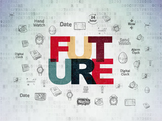 Time concept: Future on Digital Data Paper background