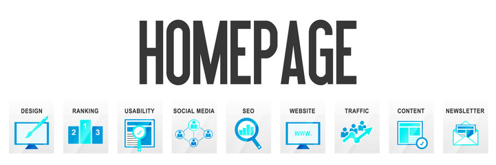 Homepage Banner Template Icons Business Design Piktogramm Header Website