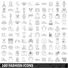 100 fashion icons set, outline style