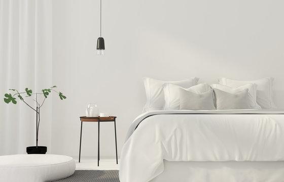 Minimalistic white bedroom