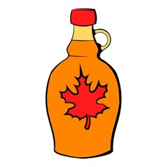 Bottle of maple syrup icon cartoon