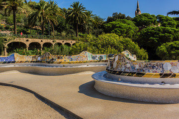 Colorful ceramic serpentine bench. Parc Guell, Barcelona, Spain.