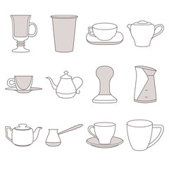 Set of coffee elements cups flat icon set