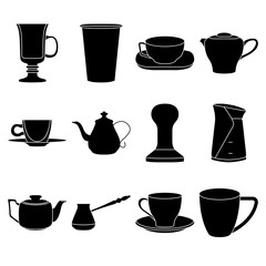 Set of coffee elements cups silhouette icon set