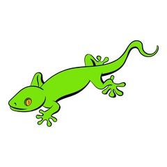 Green gecko lizard icon cartoon
