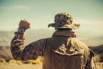 Proud Military Man in the Desert