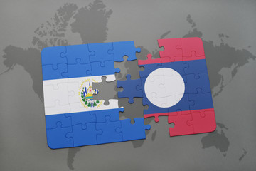 puzzle with the national flag of el salvador and laos on a world map