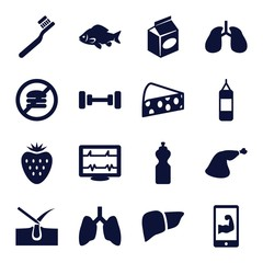 Set of 16 healthy filled icons