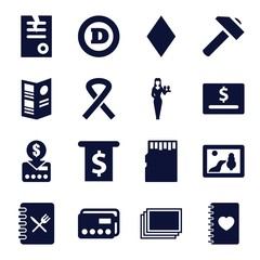 Set of 16 card filled icons