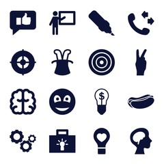 Set of 16 idea filled icons