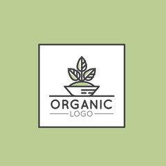 Vector Icon Style Illustration Logo for Organic Vegan Healthy Shop or Store, BIO and ECO Product Sign, Green Plant with Leafs Symbol