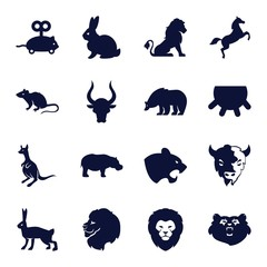 Set of 16 mammal filled icons