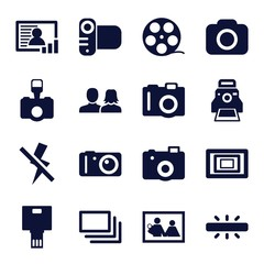 Set of 16 picture filled icons