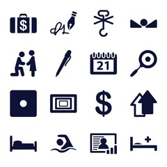 Set of 16 pictogram filled icons