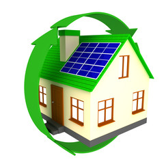 Little house with solar battery in green arrow