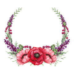 Watercolor Wreath with Red Poppies and Violet Flowers