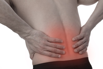 Sport injury, Man with back pain. Pain relief and health care concept isolated on white.